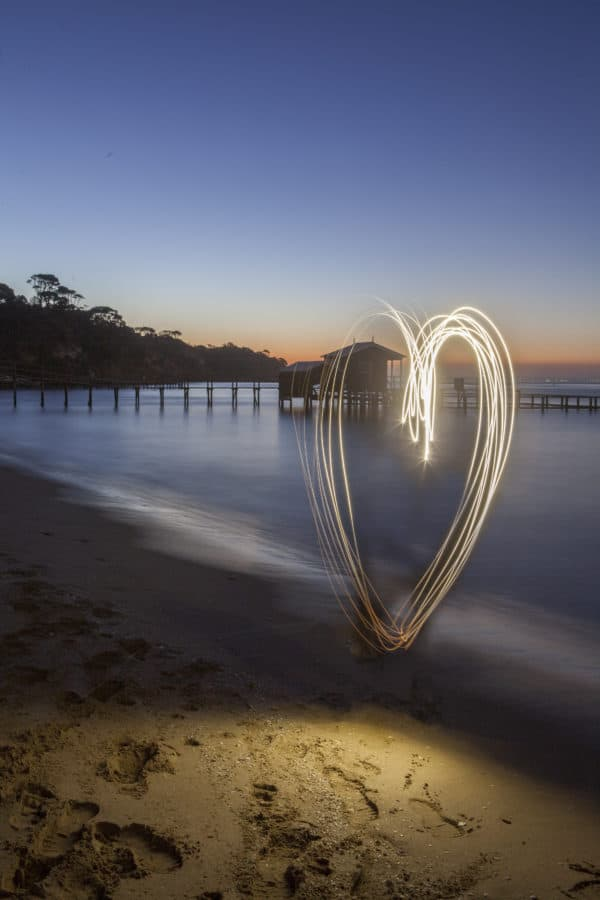 heart, sand, dusk, water, sky, sea, ocean, shore, beach