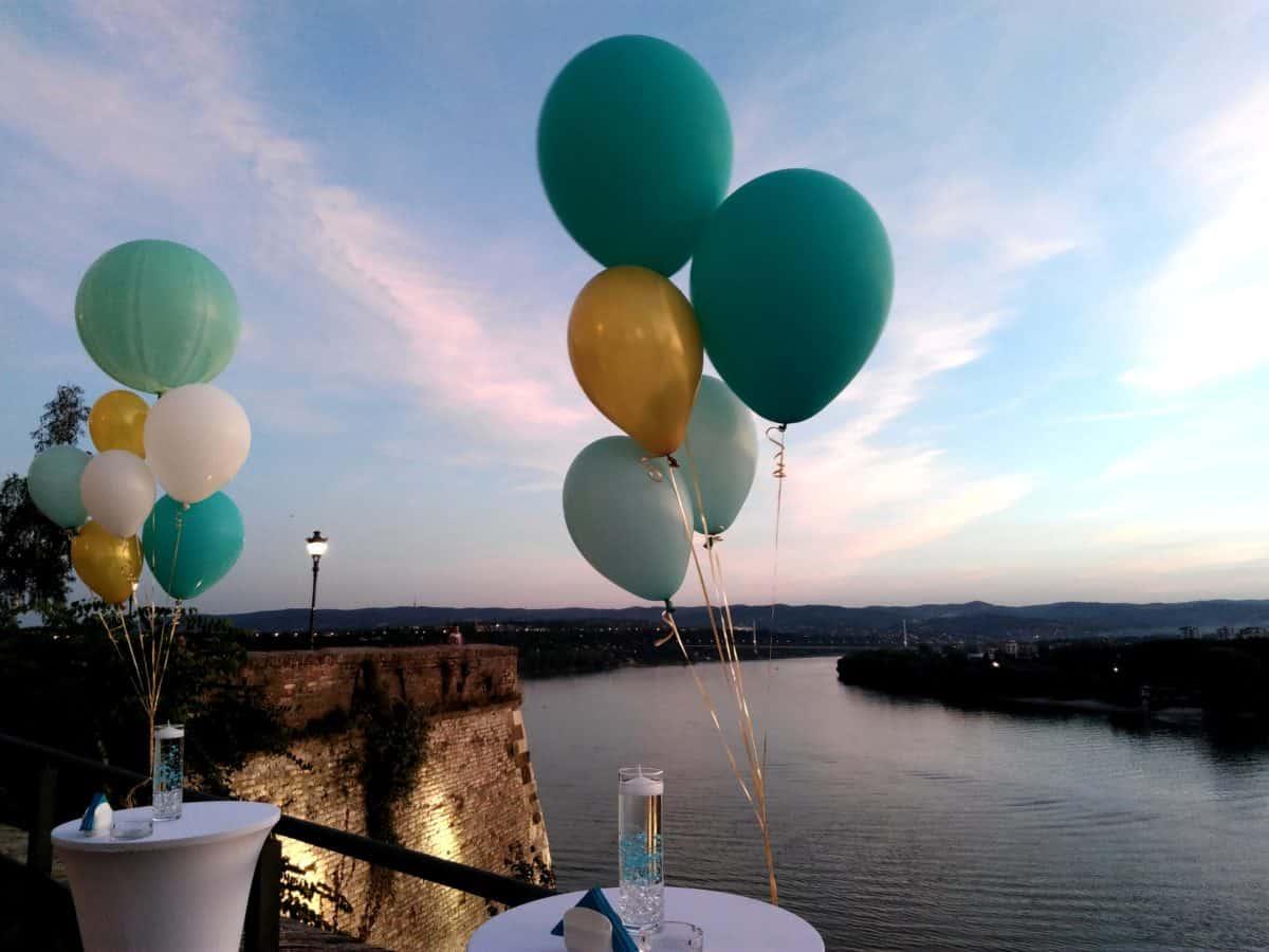kutlama, dekorasyon, nehir Tuna, gökyüzü, balon, renkli, su