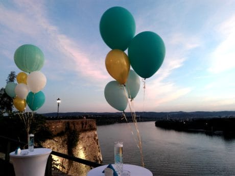 celebration, decoration, river Danube, sky, balloon, colorful, water