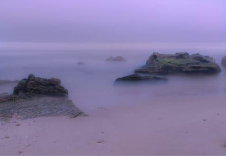 brouillard, paysage, mer, brume, marin, plage, océan, eau, rivage, coucher de soleil