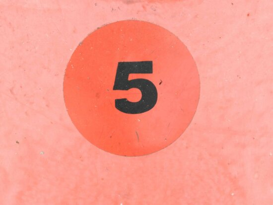 number, 5, paint, color, sign, symbol, red