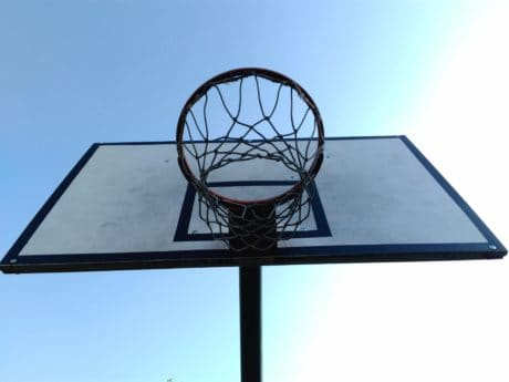 backboard, basketball, blue sky, ball, equipment, sport