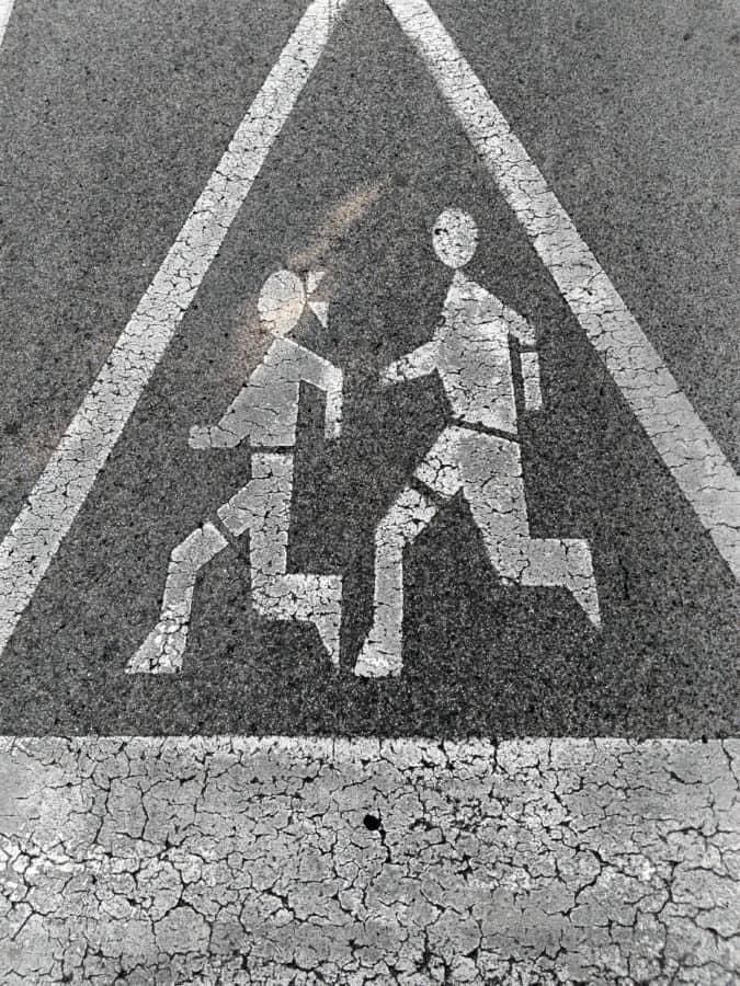 symbol, skilt, fortov, asfalt, gade, tekstur, udendørs