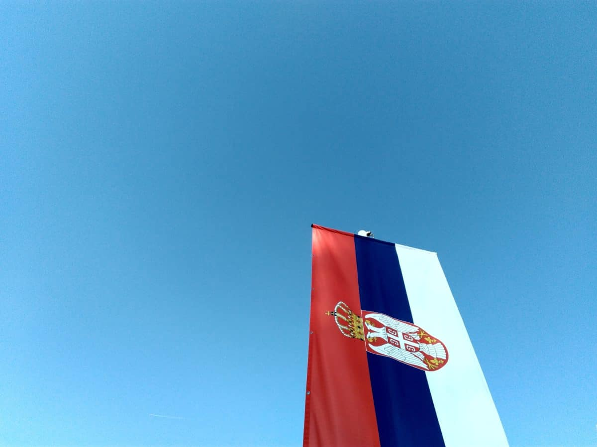 patriotism, flag of Serbia, sky, flag, emblem, wind, outdoor