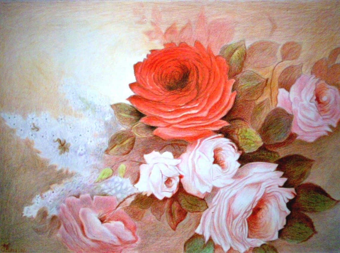 oil painting, flower, rose, pastel, art, pink, arrangement