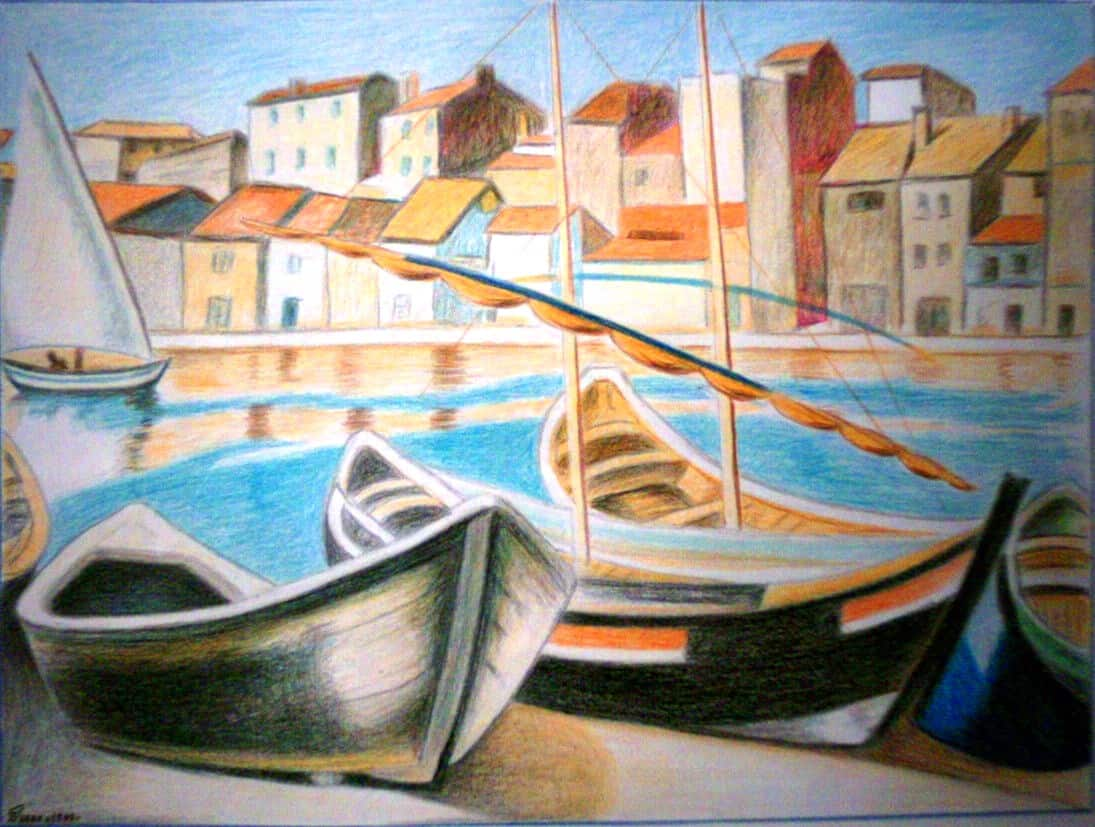 oil painting, fine art, colorful, boat, water, sea