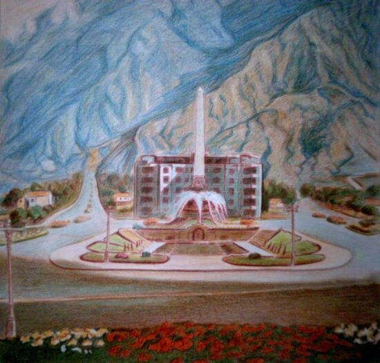 oil painting, illustration, art, palace, architecture, residence