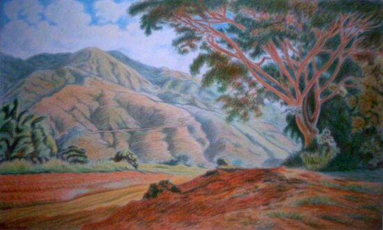 tree, oil painting, landscape, canyon, valley, mountain, desert, rim, sky