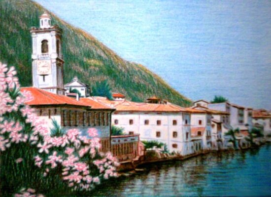 oil painting, town, architecture, house, water, seashore, boathouse, shed