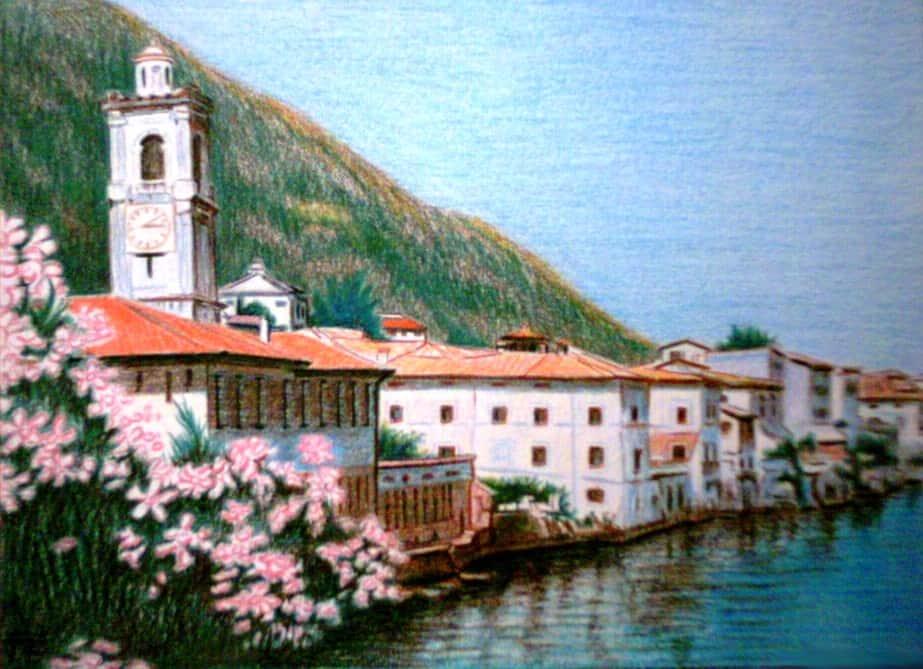 olajfestmény, város, építészet, ház, víz, tengerpart, Boathouse, fészer