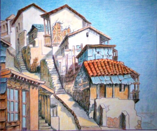 oil painting, old, roof, architecture, house, street, town, balcony, city