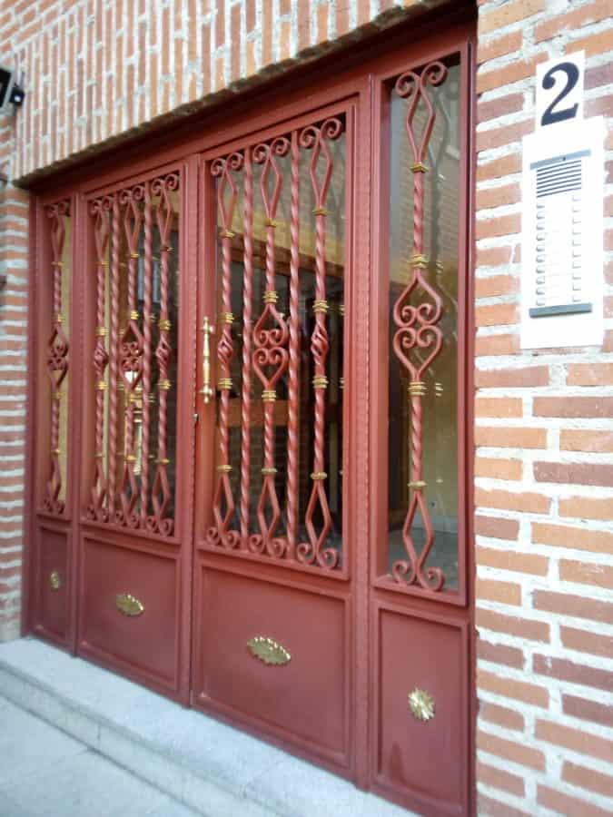 Architektur, Haustür, Metall, Objekt, Material, Haus, Ziegelwand, alt, außen