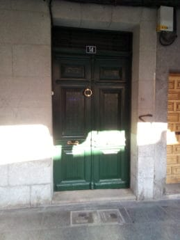 pavement, front door, urban, green, shadow, sunshine, street