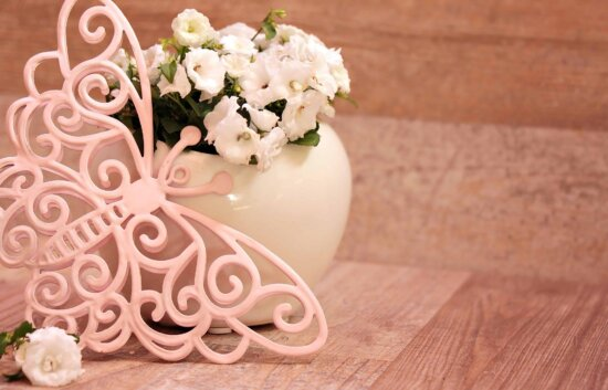 flower, butterfly, still life, vase, pink, rose, arrangement