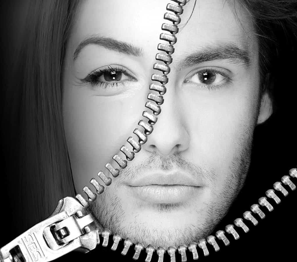 jednobojna, moda, čovjek, žena, fotomontaža, portret