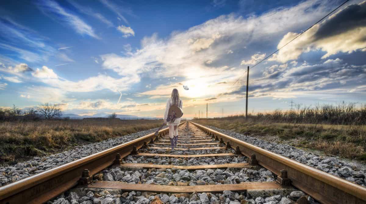 route, ciel, chemin de fer, train, fille, chemin de fer, extérieur