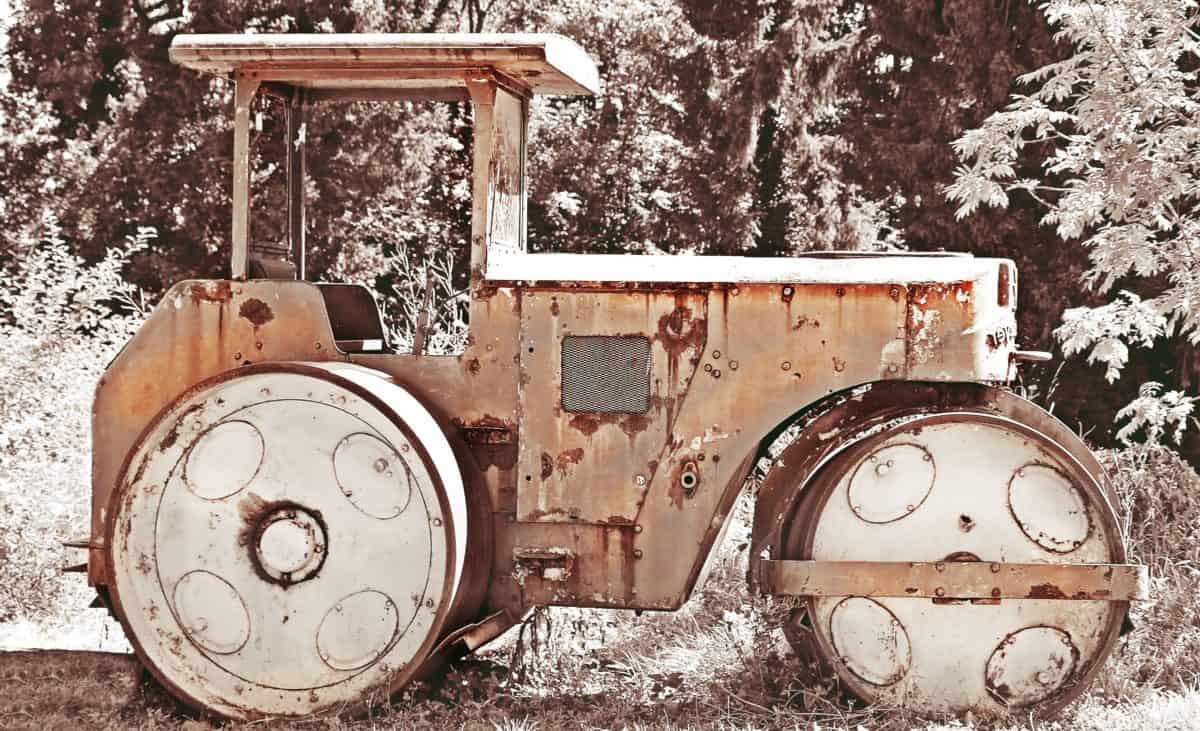 old tractor, machine, roller, winter, snow, rust, steel