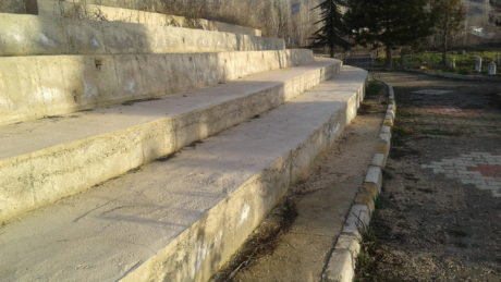 staircase, gravestone, architecture, pavement, road, wall, landscape, sky, outdoor, ground