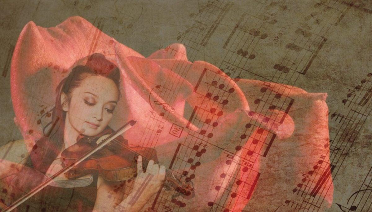 photomontage, art, papier, artistique, antique, illustration, musique, violon, fille, note musicale