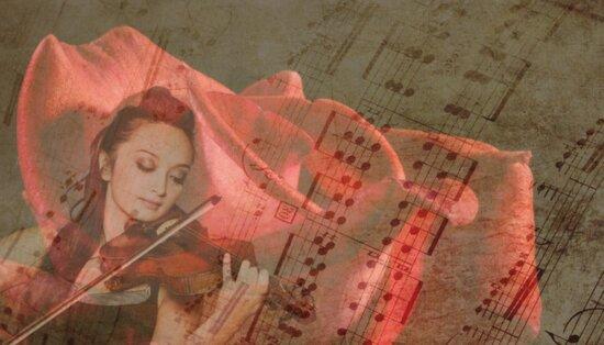 fotomontaje, arte, papel, artístico, antigüedades, Ilustración, música, violín, chica, nota musical
