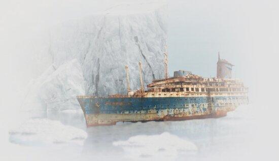 barco, invierno, nieve, agua, motos acuáticas, arte