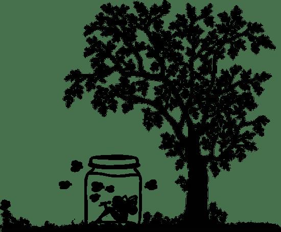 diseño, tarro, árbol, dibujo, animación, árbol, muchacha