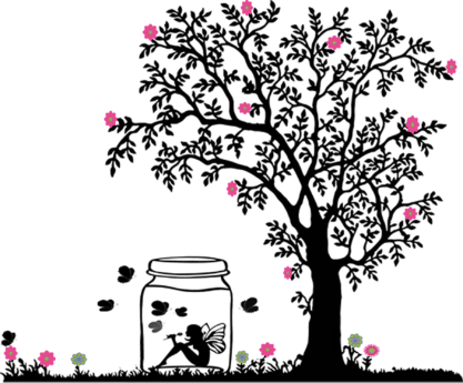 design, jar, tree, drawing, animation, flower, tree, girl