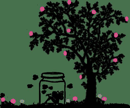 diseño, tarro, árbol, dibujo, animación, flor, árbol, muchacha