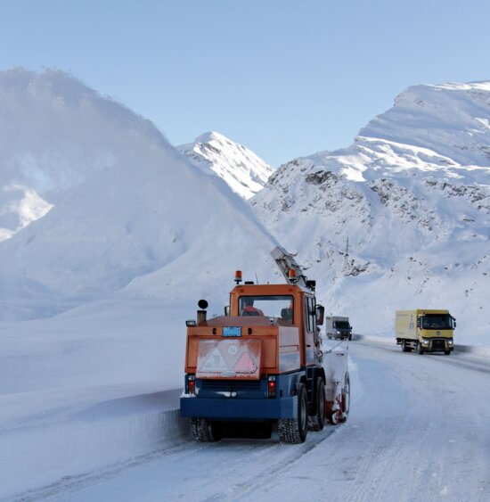 montagne, camion, froid, hiver, neige, véhicule, paysage