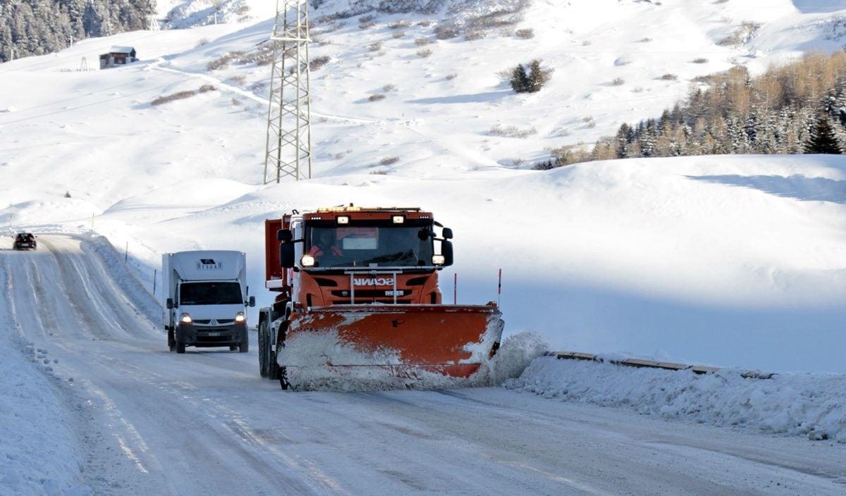 lastbil, väg, fryst, snö, vinter, is, frost, kyla, fordon