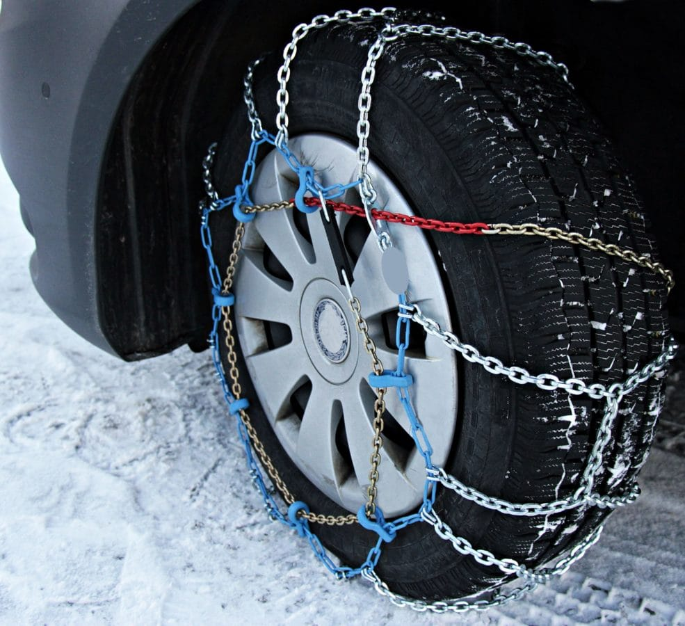 winter, wheel, vehicle, car, tire, chain, metalware