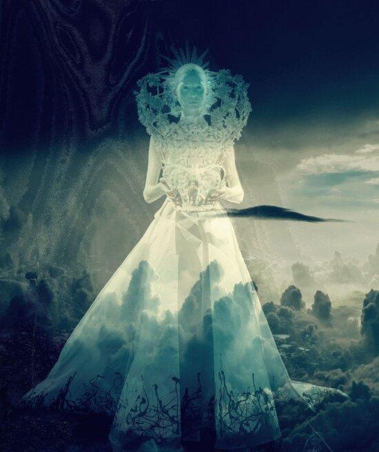 arte, transparente, muchacha, princesa, cielo, vestido