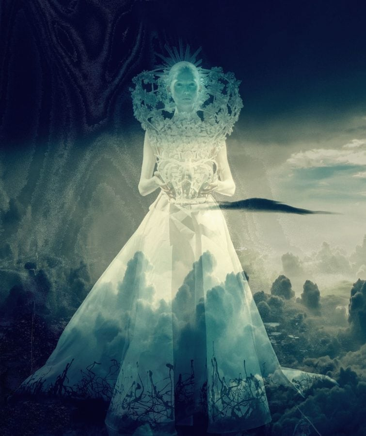 Kunst, transparent, Mädchen, Prinzessin, Himmel, Kleid
