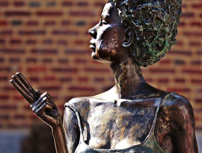 изкуство, скулптура, статуя, бронз, жена, на открито