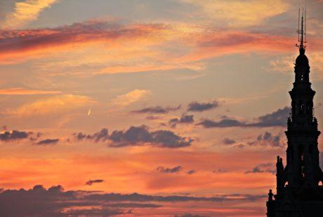 crépuscule, silhouette, rétro-éclairé, bâtiment, église, ciel, atmosphère