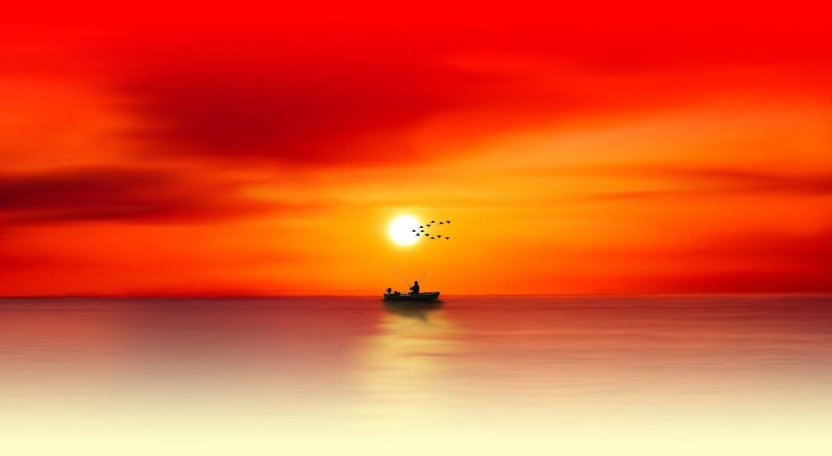photomontage, sea, sunset, fisherman, boat, water, seascape, sky