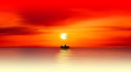fotomontaje, mar, puesta del sol, pescador, barco, agua, paisaje marino, cielo