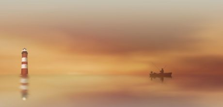 fog, beach, dusk, sun, water, sunset, sky, boat, fisherman