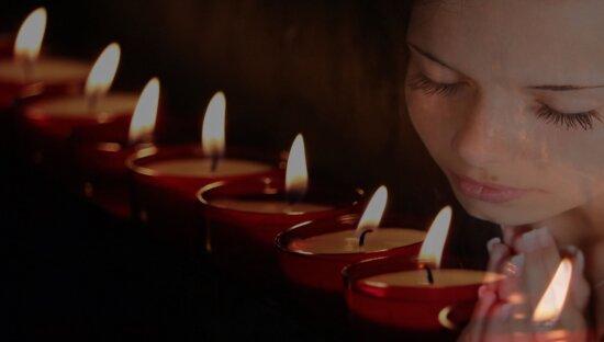 vela, muchacha, fotomontaje, sombra, fuego, obscuridad, persona, de interior