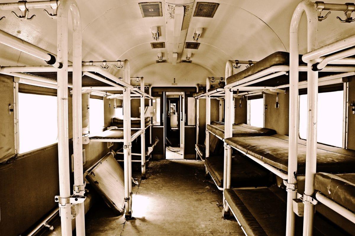 starožitné, monochromatický, sépia, posteľ, vagón, interiér, kov, stavebníctvo