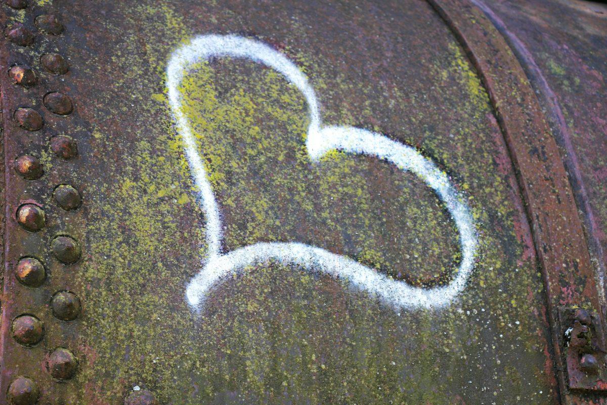 сърце, рисунка, графит, метал, корозия