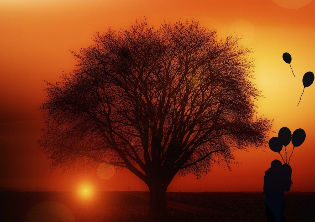 dusk, dawn, photomontage, sun, man, woman, balloon, love, silhouette, sky, tree