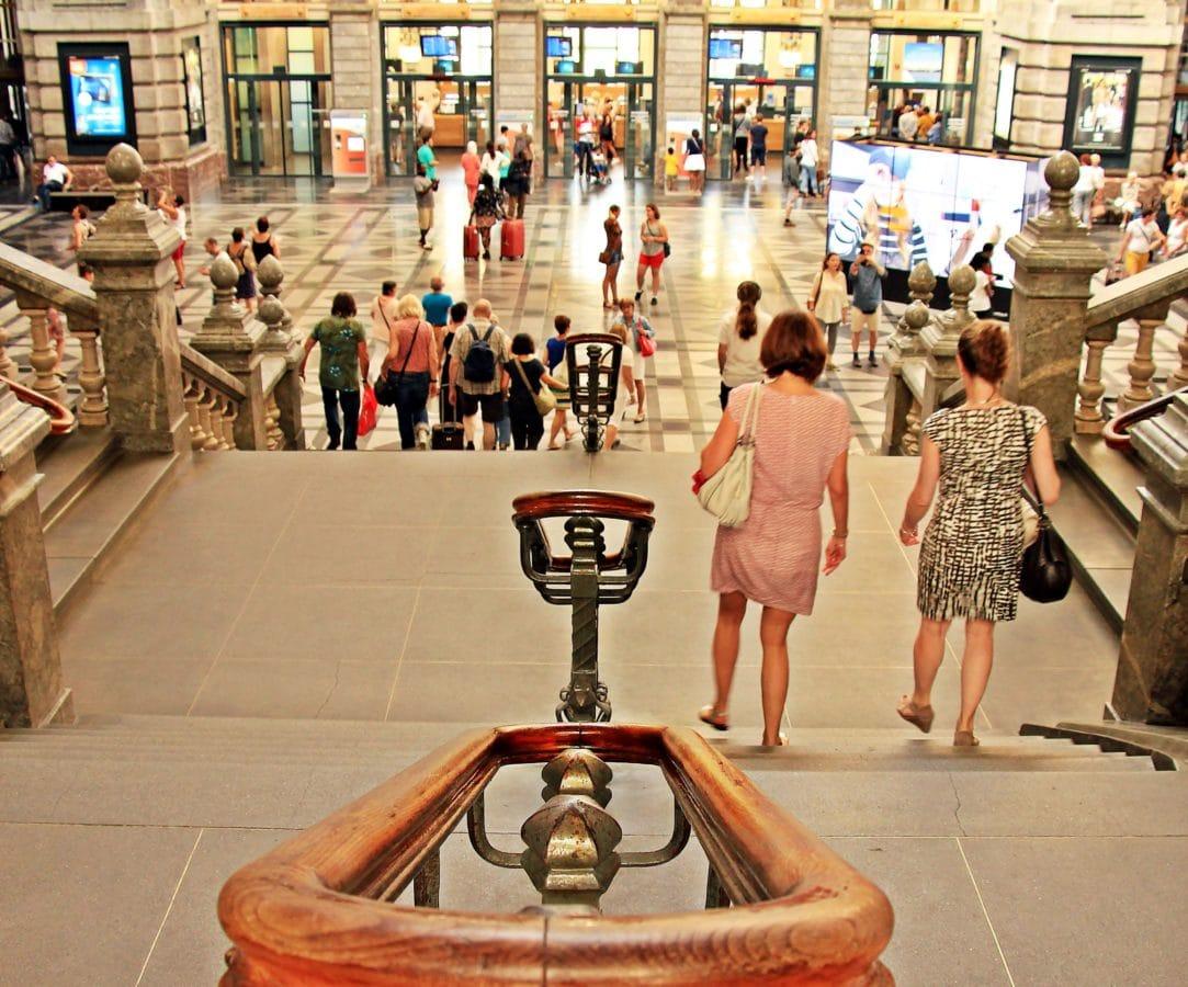 ciudad, centro comercial, mujeres, gente, escalera, arquitectura, interior