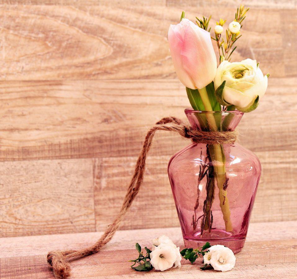 tulip, rose, flower, vase, decoration, wood