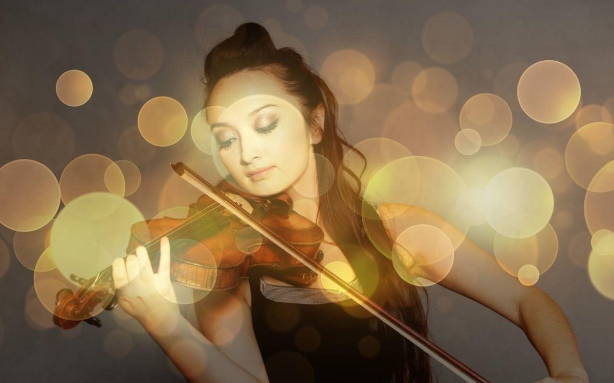 art, girl, light, violin, music, reflection