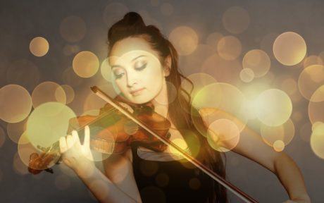 art, girl, light, violin, music, reflection