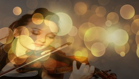 abstract, girl, light, violin, music, reflection