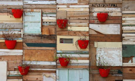 flower pot, red, object, wood, wooden, house, pot, plant, box