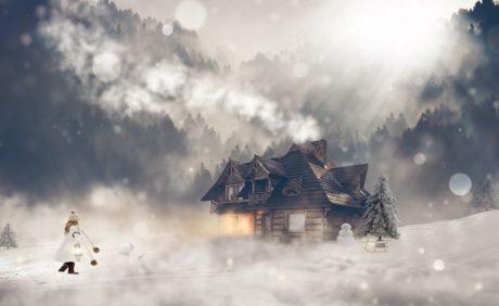 冬、雪、納屋、構造、家、寒さ、屋外、煙