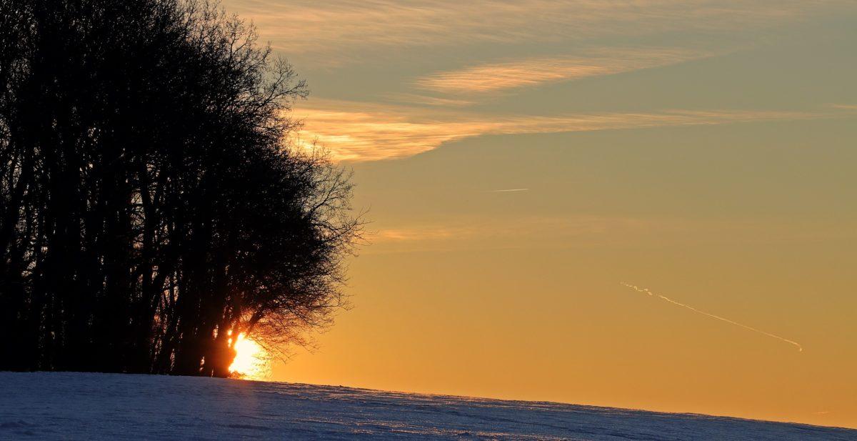 sunrise, sunset, dawn, dusk, landscape, sky, snow, winter